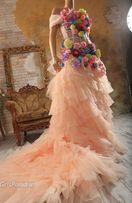 Платье вечернее розовое в цветах цветочное платье для фотосессии