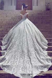 Image of Luxury Vintage A-Line White Wedding Dress Bridal Gown Custom Made