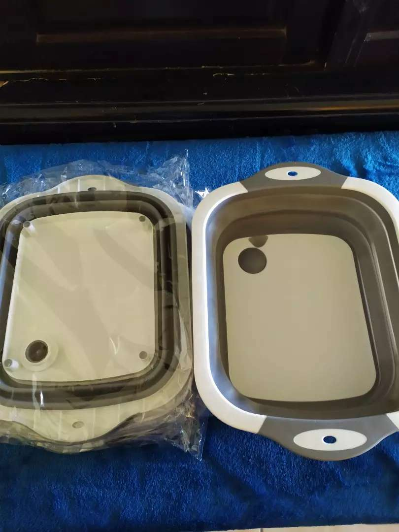 Collapsible basket/basin/cutting board. With drain