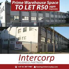 Prime Warehouse space to let for R50 sqm negotiable in Durban