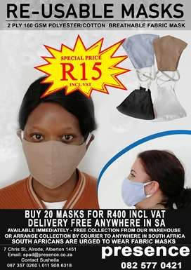 Re-usable Mask 2 Ply 160GSM Polyester/Cotton