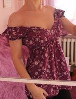 hiszpanka bluzka z odkrytymi ramionami boho gołe ramiona fioletowa xs