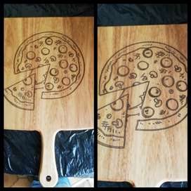 Pizza serving and cutting boards