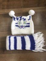 Вязаные шапка и шарфик 1-2 года