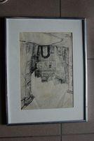 Obraz , grafika , Maksymilian Brożek , Lublin . wym. 30x20 cm.