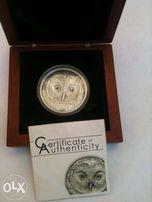 серебряная монета Уральская сова