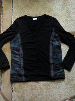 Sweterek czarny,wstawki turkusowe z siateczką