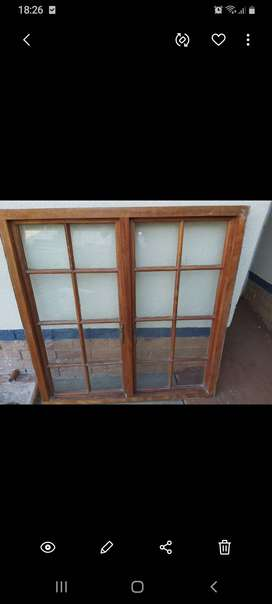 Wooden window frame with windows