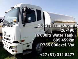 2013 Nissan UD Quonn 26-490 Water Tank 16000ltr