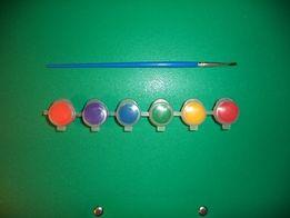 Акриловые краски 6 цветов + кисточка