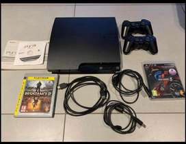 PlayStation 3 , all cables available,2 wireless controllers, 3 games