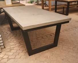 Concrete dining tables... R7850. We can  also build to custom design