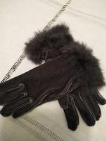 rękawiczki z aksamitu popielate