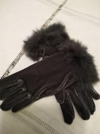 rękawiczki z aksamitu popielate Jarosław - image 1