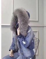 Kurtka parka jeansowa kaptur szara niebieska futro lis naturalne