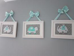 Obrazki miętowe do pokoju dziecka dekoracje kokardy piękne