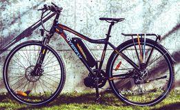 """Rower elektryczny trekkingowy Overfly Warrior Pomarańczowy 19"""" 28"""""""