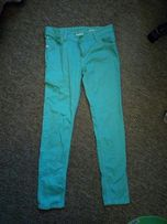 джинсы мятного цвета, без дефектов