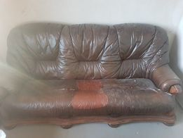 Kanapa skórzana sofa dębowa
