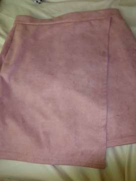 Pre-loved pink suede mini skirt