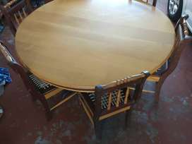 Yellowwood and imbuia six seater dining table and chairs