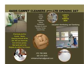 Oasis carpet cleaners  (Pty) Ltd opening 24/7