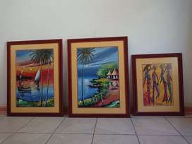 3 Framed African themed pictures