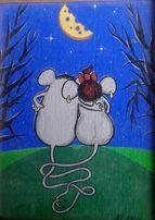 "подарок картина"" мышата любовь"" в рамке масло; глина на холсте , рамки"
