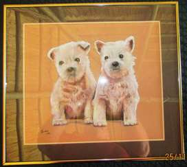 Original Oil Painting in Solid Brass Frame - Puppies - 485mm x 435mm