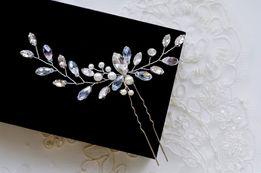 Duża kokówka ślubna, ozdoba do włosów, kryształowa wpinka, perły