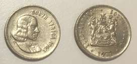 1965 and 1977 South Africa 5 cent coins