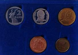 1990 RSA Proof Coin Set - R1 depicts PW Botha
