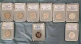 9 x RSA Graded R1 Nickel coins - All Mint state