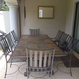 Large Solid Outdoor Patio 8-Seater Table with 8 Chairs