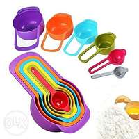 Measuring Cup and Spoon Set - Stackable Colorful Plastic for Kitchen B 0