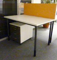 Zestaw MDD białe biurko + kontener meble biurowe używane
