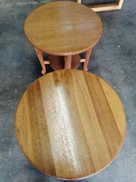 2 x Solid meranti cocktail tables for sale