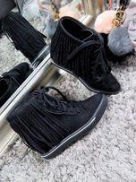Buty sneakersy na koturnie z frędzlami frędzle 36-41