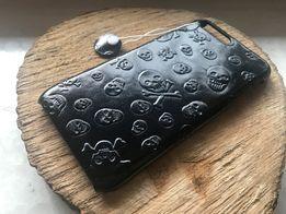 SKÓRZANY Case HANDMADE iPhone 7 i 8 Plus SKULLS Plein klasyczna Czerń