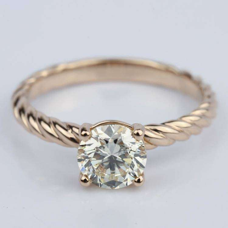 Twisted Rope Solitaire Diamond Engagement Ring in 9ct Rose Gold 0