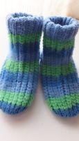 теплые вязанные носки на ребенка 2 - 3 года на стопу 14-15 см
