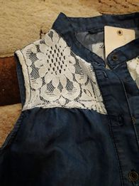 Jeansowa koszula tunika koronka r s/m