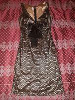 Вечернее/коктейльное платье золото с черным как новое 44-46