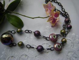 naszyjnik łańcuch +porcelana-100cm fiolet i zieleń