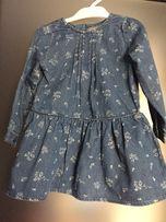 Джинсовое платье Primark р.9-12 мес в идеале