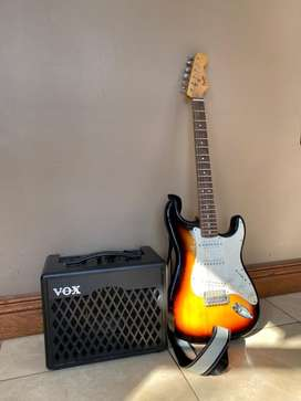 Fender squier stratocaster and vox amp