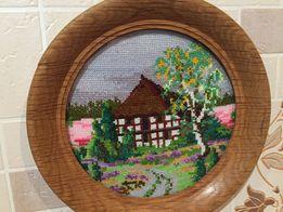 картина домик вышита крестиком
