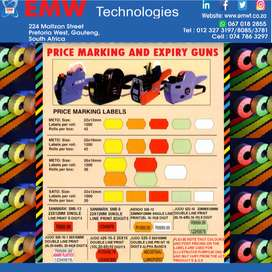 Price marking and expiry date machine and labels