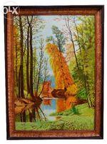 Картина маслом на холсте в ручной раме из дерева