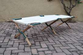 Vintage Foldable Steel Wood Canvas Camping Stretcher/Cot
